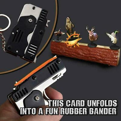 Rubber Band Gun Mini Metal Folding 6-Shot with Keychain Band Rubber and 100 Q6B8