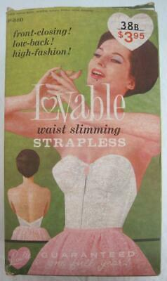 Vintage LOVABLE Waist Slimming Strapless Longline Bra Size 38B Front Close White