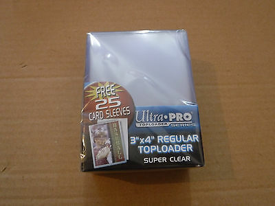 25 Ultra Pro 3x4 Ultra Clear Regular Toploader With 25 Soft Sleeves! 1 pack = 25