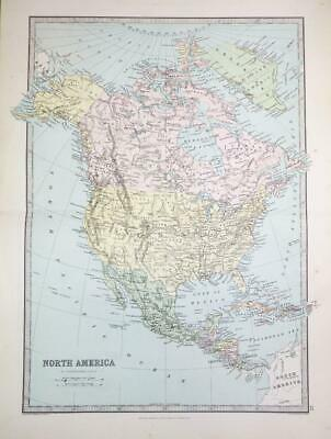 1883 - Large Antique Colour Map of NORTH AMERICA & CANADA Greenland (PHA)