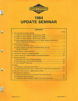 Briggs/ Stratton Update Seminar  Service Manual 1984
