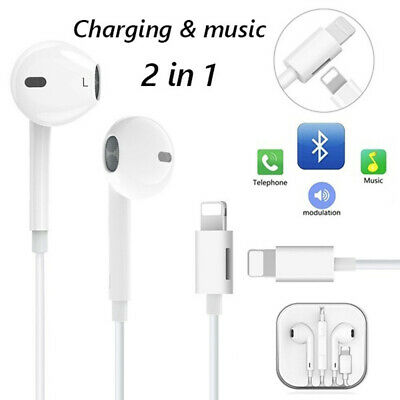 For iPhone 7/8/X/7 plus XR XS Genuine Earbuds Headphones w/Lightning Connector