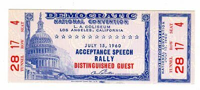 1960 John F. Kennedy  Democratic Convention VIP Ticket With Stub