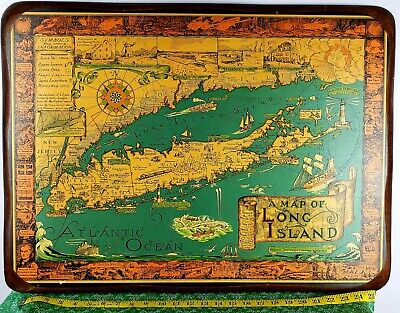 Map, Long Island, New York, Pictorial, Courtland Smith, Vintage Print,1961 -RARE