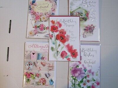 LADIES TRADITIONAL SET OF 5 BIRTHDAY CARDS  GREETINGS CARDS (set 8 )