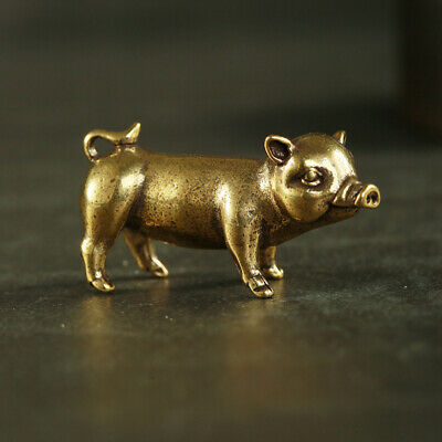 Antique Brass Pig Pendant Statue Old Chinese Zodiac Lucky Pocket Gift Ornament