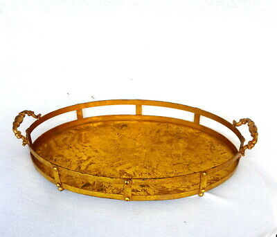 Vintage Solid Heavy Metal Serving Large Oval Tray Galvanized with Ornate Handles