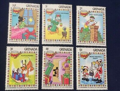 Set of 6 Grenada Christmas 1983 Disney Stamps Mickey Mouse (F1)