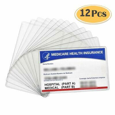 12 Pack New Medicare Card Holder Protector Sleeves, 12Mil Clear Pvc Soft Waterpr