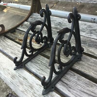 A Pair Antique Style Shelf Bracket Cast Iron Brackets Garden Braces Rustic Black