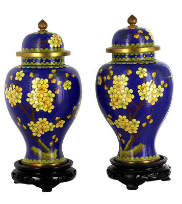 Vintage Pair Of Chinese Cloisonne Blue Enamel Blossom Butterfly Urn Vases