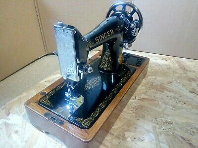 Vintage singer (pewter scroll faced) sewing machine. 1938. Model 99k.