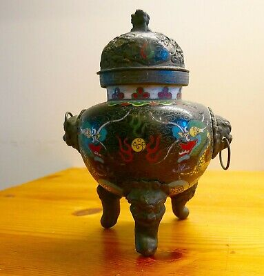 Chinese Bronze and Cloisonne incense burner/censer-early 20th Century