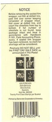 Usps 2020 Wild Orchids Booklet Stamp Deck Top Card Mint Condition