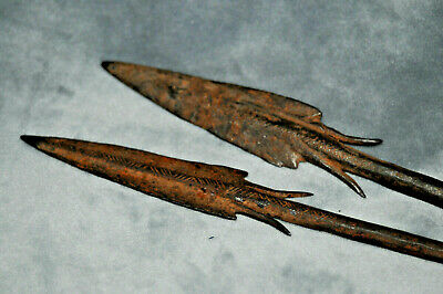 A one of a kind TWO SPEAR  Scarce Mycenaean Long Shot Arrowhead with details