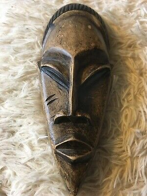 """12"""" Hand Carved, Wooden, African Tribal Mask, Wall Hanging Intricate Art"""