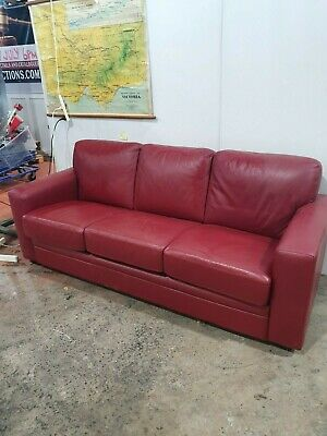 Genuine Italian Red Leather Fold Out/Futon Bed Couch