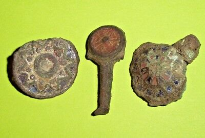 Ancient Roman Enameled Brooch Lot old jewelry enamel collection plate treasure
