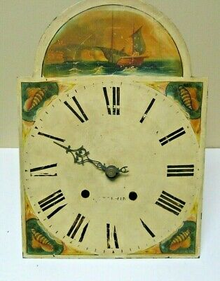 Antique English Tall Case Grandfather Clock Wood-Works Movement & Dial Kettering