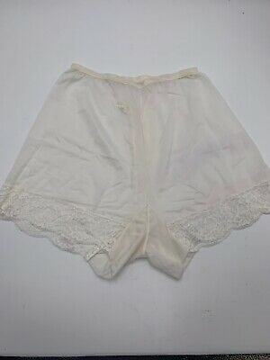 vintage Vanity tricot double gusset lace sheer pettipants tap panties White 5