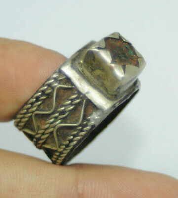 One of a kind Highly Detailed Scarce Ancient viking Solid twisted warrior Ring