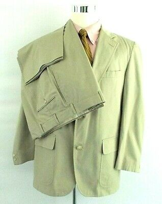 Brooks Brothers Men's 40R  34 x 29 Beige Khaki Cotton 3/2 Roll Single Vent Suit