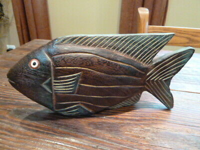 3 Vintage Wood Fish Sculpture Beach Lakehouse Decor Hand Carved Rustic Table Top