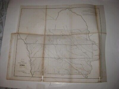 Early Rare Antique 1854 Iowa Dated Map Fort Des Moines Dubuque Cedar Rapids Nr