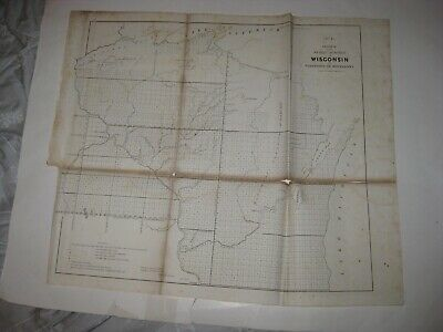 Early Rare Antique 1854 Wisconsin Minnesota Territory Dated Map Native Indian Nr
