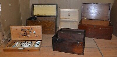 5 antique chest lot Quack Machine paint box collectible storage parts vintage