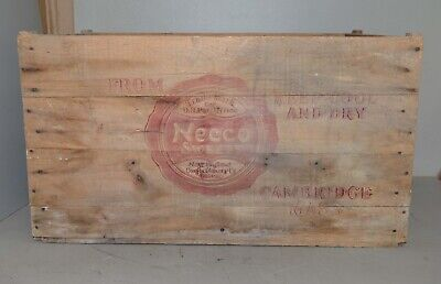 Big antique Necco Wafer wood advertising box 1900's collectible shipping crate