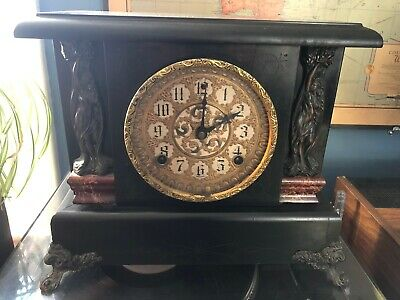 Antique Sessions Wooden Mantle Mantel Clock for Repair