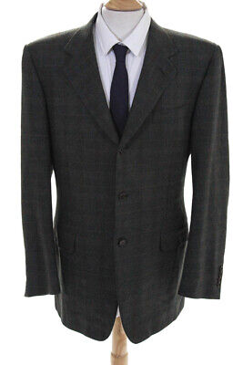 Canali Mens Three Button Notched Collar Blazer Gray Wool Plaid Size IT 52L