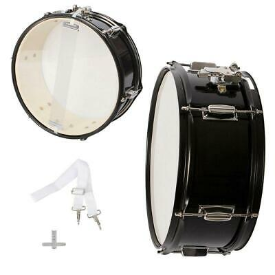 "New Durable Metal Marching Snare Drum 14.45"" x 6.10"" Black"