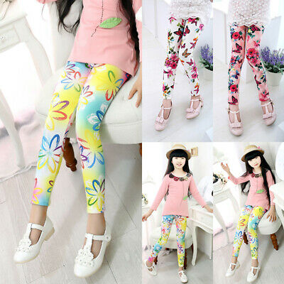 Kids Girls Milk Silk Printing Flower Ninth Pants Tight Leggings Multicolor Child