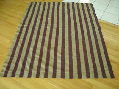 Victorian Coverlet Material Remnant Unusual Stripped Pattern Woven Burgundy  AiB
