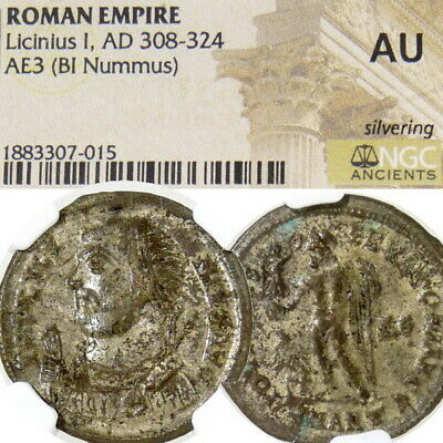 "LICINIUS NGC AU Hi-Grade RAREST ""R5""in RIC 27 Jupiter Captive Ancient Roman Coin"