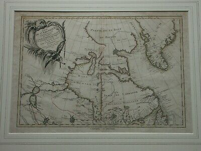 18th Century Rigobert BONNE Original Antique Map Canada Hudson Bay