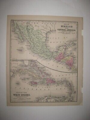 Antique 1873 Mexico Central America West Indies Caribbean Map Jamaica Cuba Fine