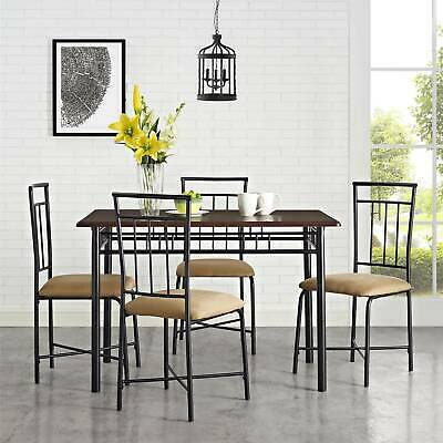 5 Five-Piece Dining Set, Brown Sturdy Steele Table with WoodTop Water Resistant