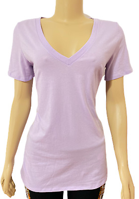 VICTORIAS SECRET Pink Everyday Solid Lilac V-Neck Tee T-shirt Top