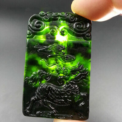 Chinese Natural Black Green Jade Hand-carved Kirin Pendant Necklace Amulet Gifts