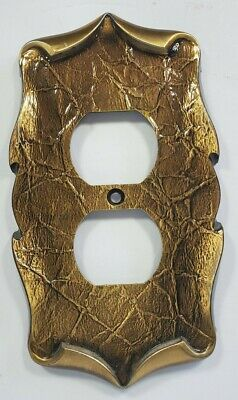 Vintage Amerock Carriagd House Brass / Antique Gold Outlet Cover 70s Rancher