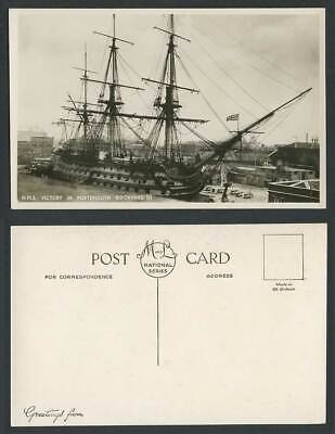 H.M.S. Victory Ship in Portsmouth Dockyard, British Flag Old Real Photo Postcard
