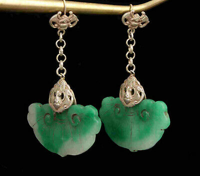 China Old Collectible Hand Engraving Tibetan Silver Inlaid Jade Earrings Gift
