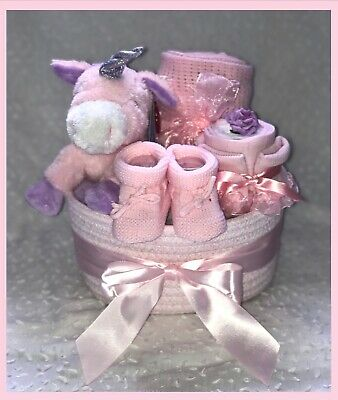 Mini Pink Baby Hamper/Basket posy