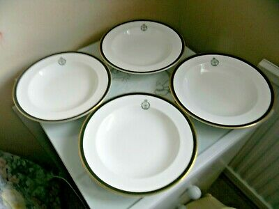 Four Wedgwood Royal Green Jackets Rimmed Soup Bowls
