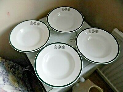 Four Tuscan China London Rifle Brigade Rimmed Soup Bowls