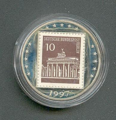 Germany - Brandenburger Gate with Stamp 1997 Silver Pp Piedfort