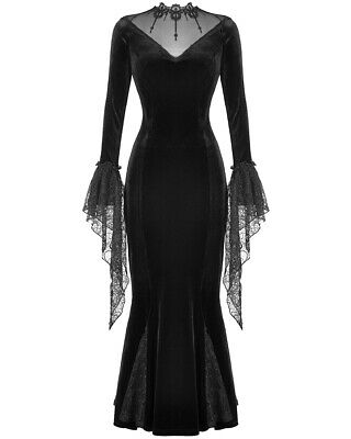 Dark In Love Long Gothic Dress Black Velvet Lace Vampire Witch Morticia Funeral